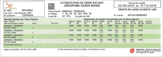 Attestation Tiers Payant